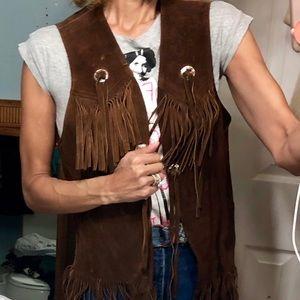 Vtg brown suede leather vest fringe boho 70s OS
